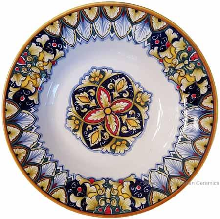 Italian Ceramic Pasta Bowl - Vario Antico - Flower4 Red