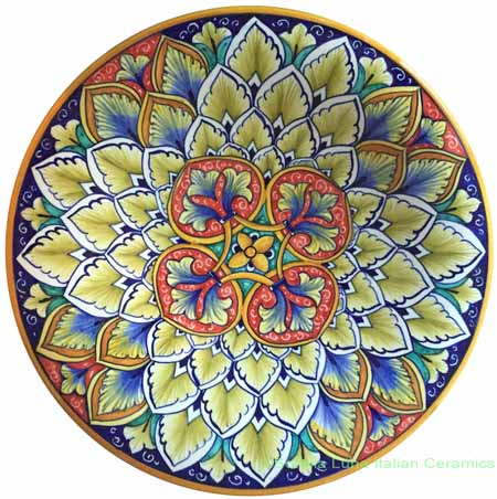 Ceramic Majolica Plate Geometrico Red Beige