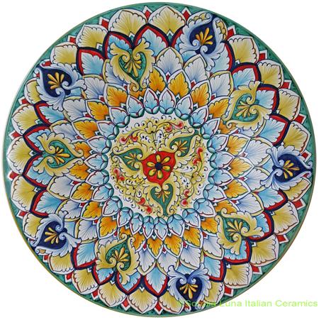 Ceramic Majolica Plate Light Blue Geometrico 35cm