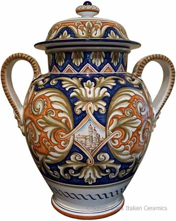 Italian Ceramic Centerpiece Handled Urn - Castle Shield 45cm