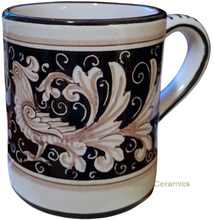 Ceramic Majolica Coffee Mug Cup Fondo Nero