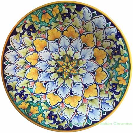 Ceramic Majolica Plate Orange Green Snowflake 25cm