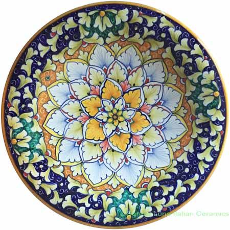 Ceramic Majolica Plate Orange Light Blue Green Snowflake 25cm