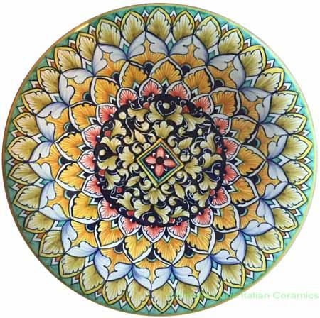 Ceramic Majolica Plate Acanthus Beige Green 25cm