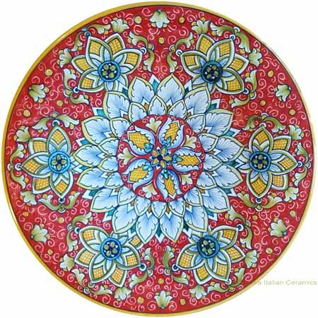 Majolica Plate - Red/Orange Starflower 30cm