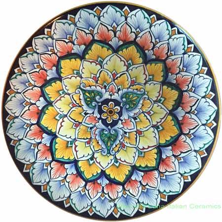 Ceramic Majolica Plate G3 Green 25cm