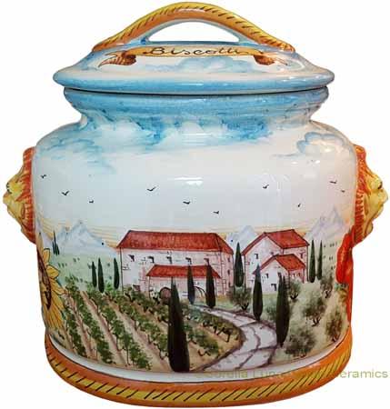 Biscotti Cookie Jar - Tuscan Poppies 27cm
