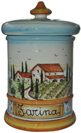 Ceramic Majolica Flour Jar Tuscan Country Poppies
