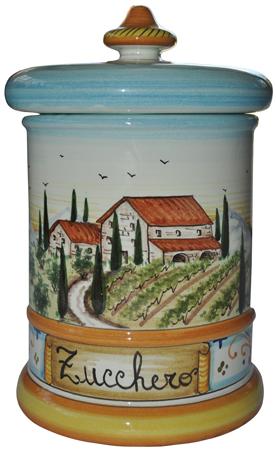 Ceramic Majolica Sugar Jar Tuscan Country Poppies
