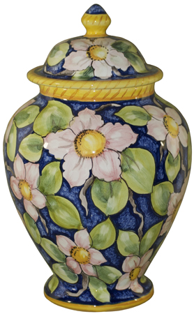 Italian Ceramic Centerpiece Urn - Blue/Pink Floral