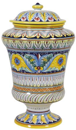 Italian Ceramic Centerpiece Urn - Yellow Crest