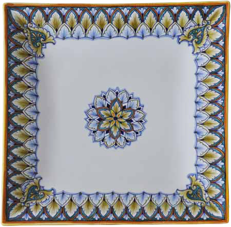 Italian Curved Square Platter - Blue/Green/Brown 34cm