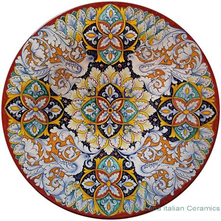 Ceramic Majolica Plate - White Birds 47cm