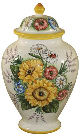 Italian Ceramic Centerpiece Urn - White Floral