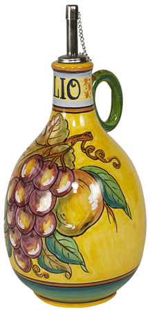 Olive Oil Dispenser GP Yellow with Red Grapes 20cm
