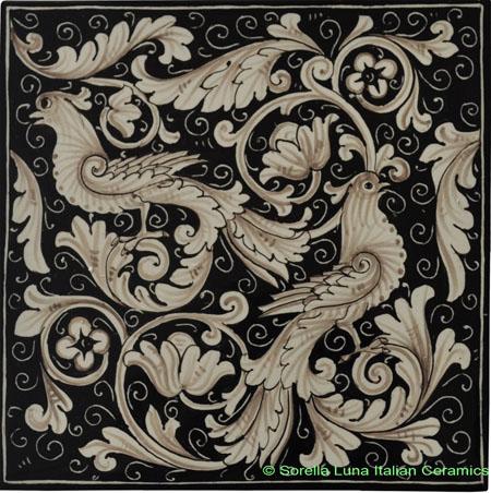 Tile Fondo Nero - Black Doves