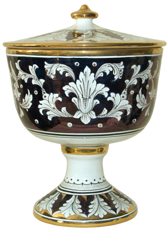 Urn - Large Pisside Blue and Oro Gold