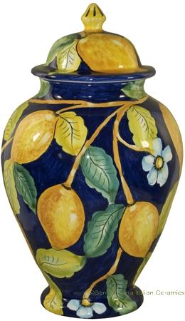 Italian Ceramic Centerpiece Urn - Blue Lemon