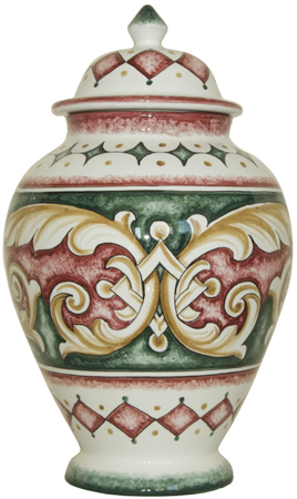 Italian Ceramic Centerpiece Urn - Red and Green Gothic