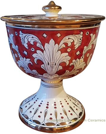 Urn - Large Pisside Ruby and Gold