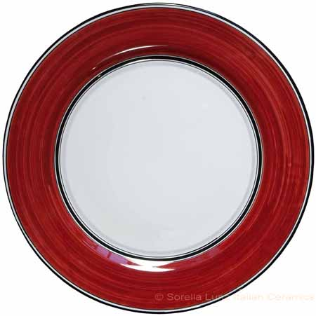 Italian Charger Plate - Black Border Solid Bordeaux