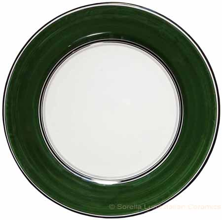 Italian Charger Plate - Black Border Solid Emerald Green