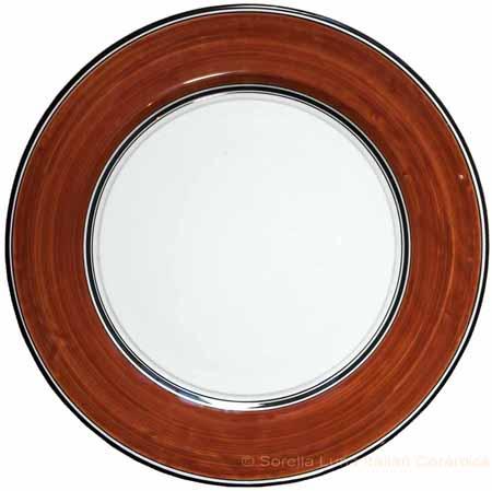Italian Charger Plate - Black Border Solid Rossiccio
