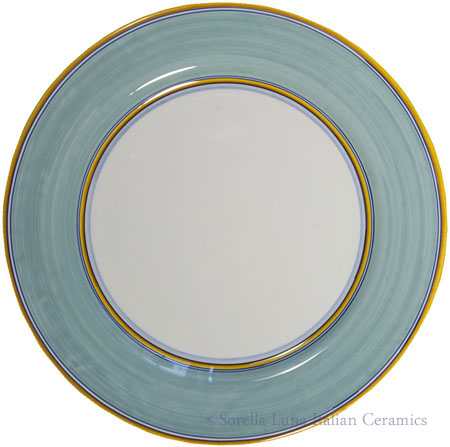 Italian Charger Plate - Yellow Border Solid Teal