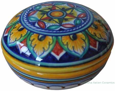 Ceramic Majolica Covered Curved Box - Star