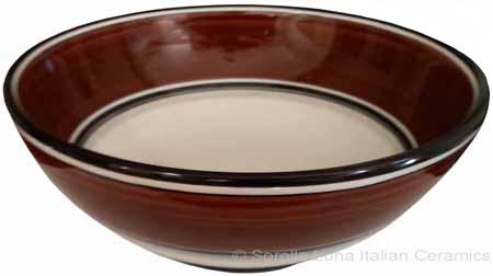 Italian Dessert/Soup Bowl - Black Rim Solid Brown - Cafe