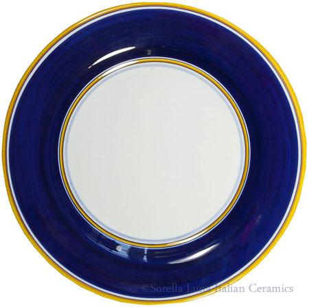Italian Dinner Plate Yellow Rim Solid Blue