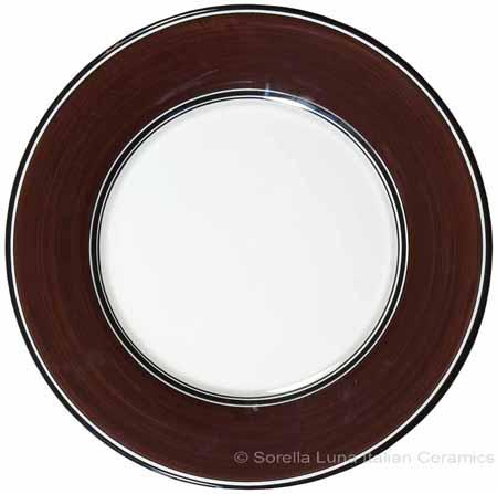 Italian Dinner Plate Black Rim Solid Cafe Brown