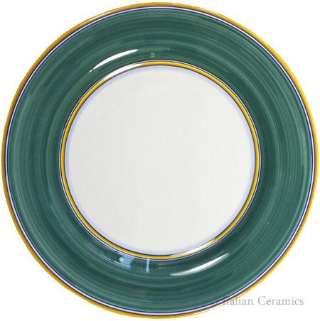 Italian Dinner Plate Yellow Rim Solid Green