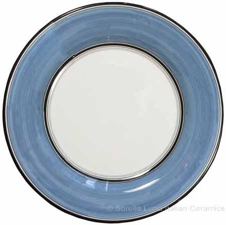 Italian Dinner Plate Black Rim Solid Light Blue - Platino