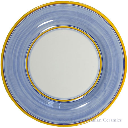 Italian Dinner Plate Yellow Rim Solid Light Blue