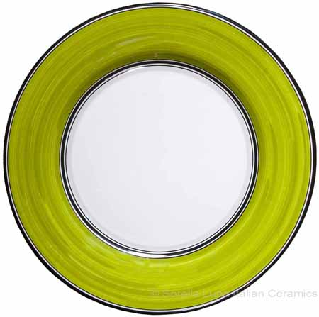Italian Dinner Plate Black Rim Solid Meadow - Prato