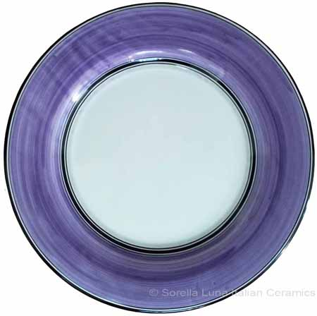 Italian Dinner Plate Black Rim Solid Purple - Viola