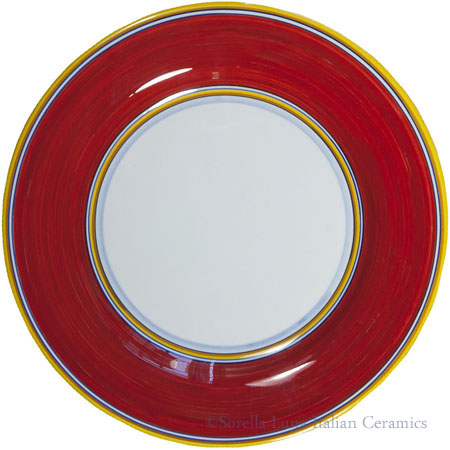 Italian Dinner Plate Yellow Rim Solid Red