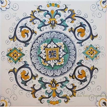 Tile Flower Ricco Deruta NC - 25cm