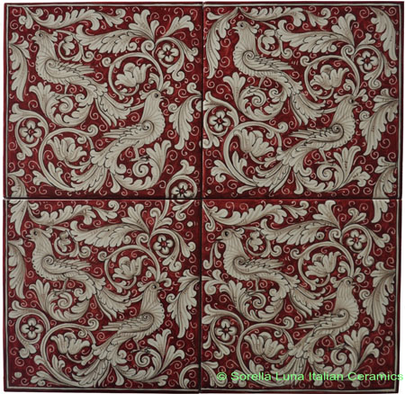 Tile Panel Backsplash - Red Doves
