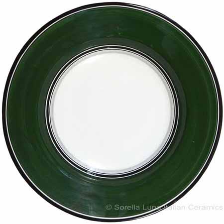 Deruta Italian Pasta Plate - Black Border Solid Emerald Green
