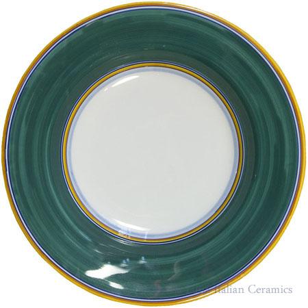 Deruta Italian Pasta Plate - Yellow Border Solid Green