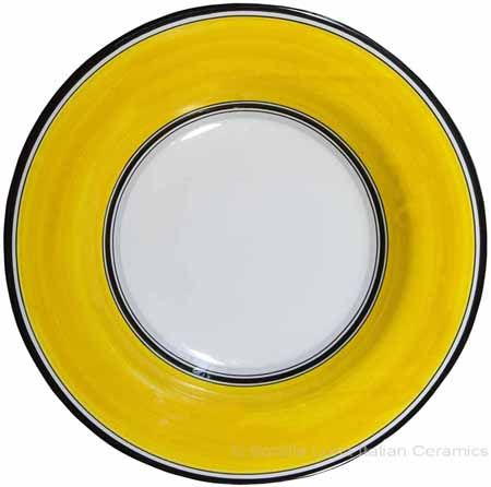 Deruta Italian Pasta Plate - Black Border Solid Yellow - Giallo