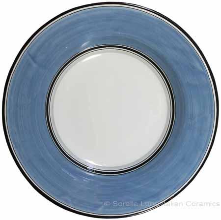 Deruta Italian Pasta Plate - Black Border Solid Light Blue - Platino