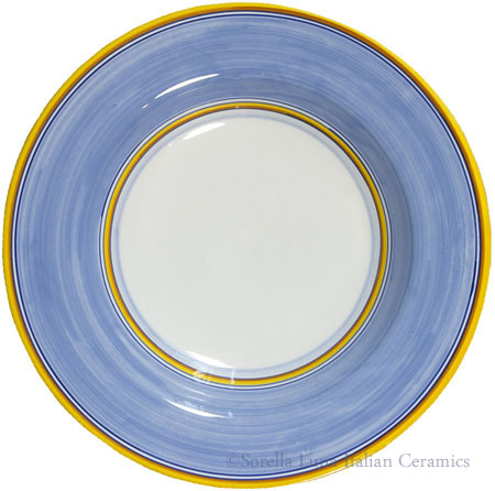 Deruta Italian Pasta Plate - Yellow Border Solid Light Blue