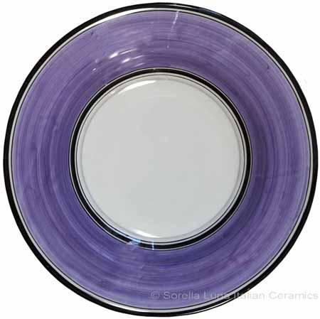 Deruta Italian Pasta Plate - Black Border Solid Purple - Viola