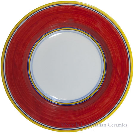 Deruta Italian Pasta Plate - Yellow Border Solid Red