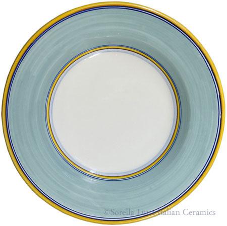 Deruta Italian Pasta Plate - Yellow Border Solid Teal