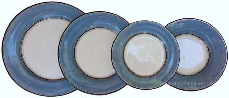 Italian Dinner Place Setting - Black Border Solid Light Blue - Platino