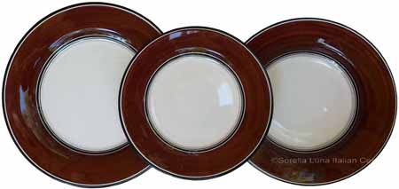 Italian Dinner Place Setting - Black Border Solid Brown - Cafe